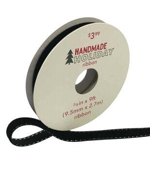 Handmade Holiday Velvet Ribbon 3/8''x9'-Black with Silver Stitch Edge