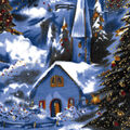 Holiday Cotton Fabric -Glitter Winter Village