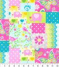 Nursery Cotton Fabric -Pink Elephant Patchwork