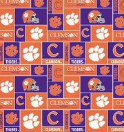 "Clemson University Tigers Fleece Fabric 58""-Block, , hi-res"