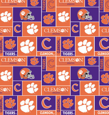 Clemson University Tigers Fleece Fabric -Block