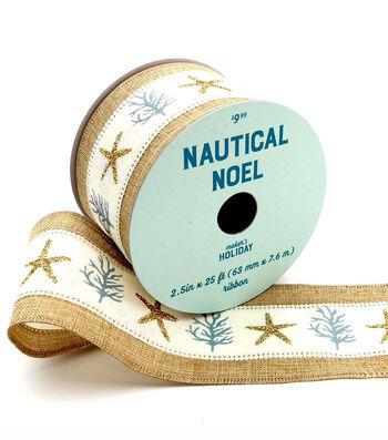 Maker's Holiday Christmas Ribbon 2.5''x25'-Coral & Starfish on Natural