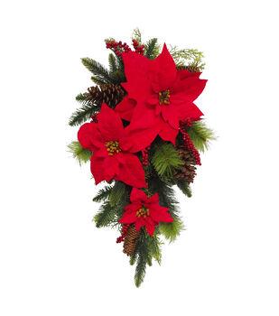 Handmade Holiday Christmas Poinsettia & Berry Outdoor Teardrop Wreath