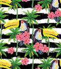 Snuggle Flannel Print Fabric -Toucans On Bw Stripe