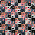 Super Snuggle Flannel Fabric-Cute Kitty Patchwork
