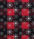 Christmas Cotton Fabric 43\u0022-Star Snowflake Plaid With Glitter