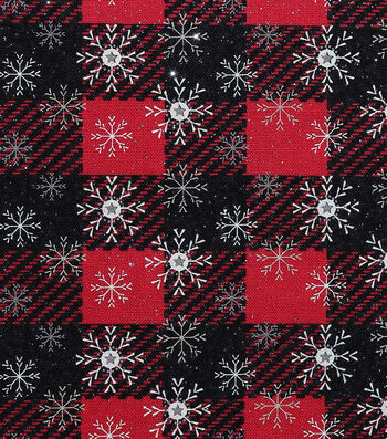 """Christmas Cotton Fabric 43""""-Star Snowflake Plaid With Glitter"""