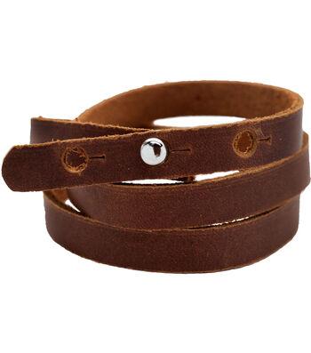 "Realeather Crafts 3/8""x24"" Wrap Bracelet-Brown"
