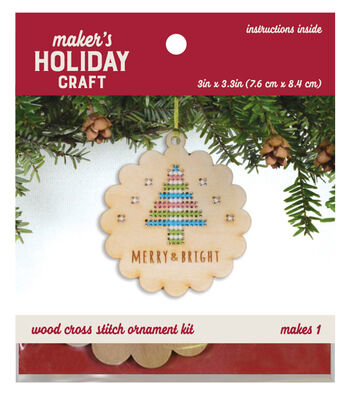 Wood Cross Stitch Ornament Kit-Tree