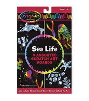 """Melissa & Doug Scratch Art Board Set 6""""X10"""" 4/Pkg-Sea Life, , hi-res"""