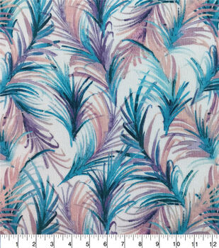 Crinkle Rayon Silky Fabric-White, Blue & Purple Fronds