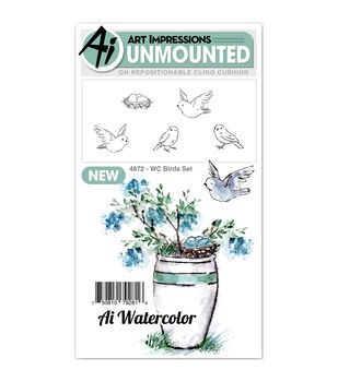 Art Impressions 5 pk Cling Rubber Stamps-Watercolor Bird Set