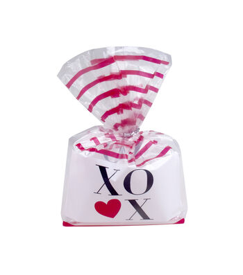 Valentine's Day Cellophane Printed Treat Bag-XOXO