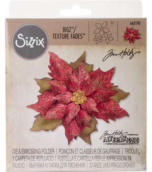 Sizzix Die & Texture Fades Embossing Folder-Layered Tattered Poinsettia