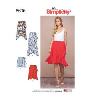 Simplicity Pattern 8606 Misses' Wrap Skirt-Size R5 (14-16-18-20-22)