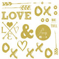 York Wallcoverings Wall Decals-Gold Love with Hearts & Arrows