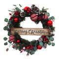 Handmade Holiday Ornament & Pinecone Wreath with Merry Christmas Sign