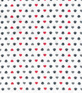 Wide Flannel Fabric 108\u0022-Paw Print And Heart