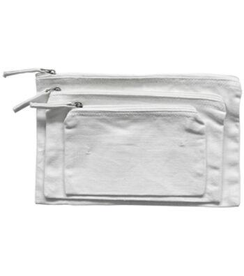 Ziper Bag Set of 3-White