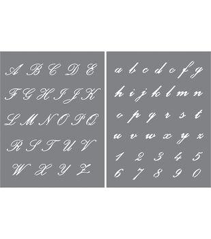 DecoArt Americana 2 pk 8.5''x11'' Stencils-Elegant Script Alphabet