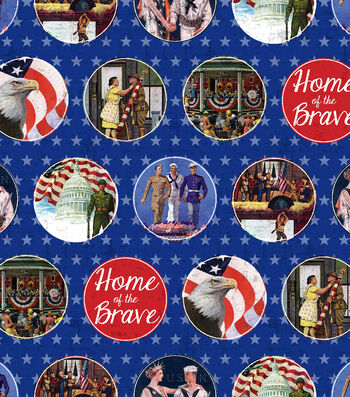 """Patriotic Cotton Fabric 43""""-Home of the Brave"""