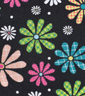 Snuggle Flannel Fabric 42\u0027\u0027-Bright Floral on Black