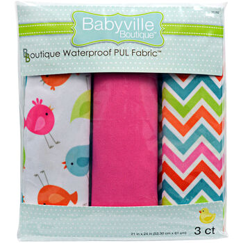 "Babyville Boutique 21"" x 24"" Fabric Birds And Chevron"