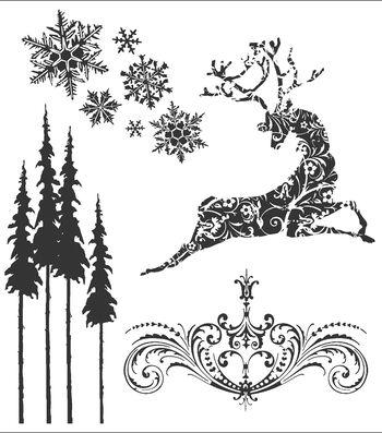 Tim Holtz Cling Rubber Stamp Set-Reindeer Flight