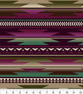 Anti-Pill Fleece Fabric 58\u0022-Aztec Wine Moss Cream