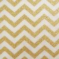 Keepsake Calico Cotton Fabric -Cream & Gold Metallic Chevron