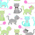 No Sew Fleece Throw-Playful Cat Multi