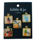 hildie & jo 5 pk Square Charms with Gold Edges-Beach