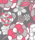 Snuggle Flannel Fabric 42\u0022-Pink Floral On Gray