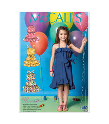 McCall's Pattern- M7147-CL0  Girls' Dresses and Belt-6-7-8