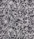 1930\u0027s Cotton Fabric 43\u0027\u0027-Floral Outlines on Gray