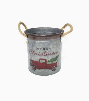 Handmade Holiday 7.75'' Cylinder Metal Bucket with Rope Handles-Car