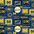University of Michigan Wolverines Cotton Fabric -Packed Patches