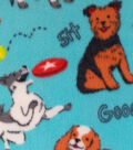 Anti-Pill Fleece Fabric -Jump, Sit & Stay Dog