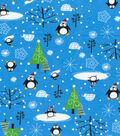 Snuggle Flannel Fabric 42\u0022-Santa Penguins