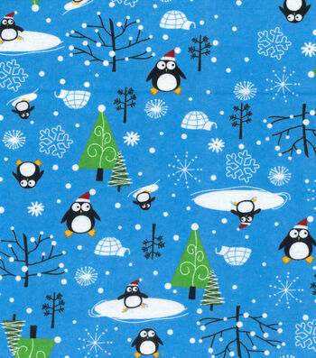 Snuggle Flannel Fabric -Santa Penguins