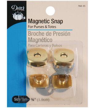 "Dritz 3/4""Square Magnetic Snaps-Gilt 2 Pair"