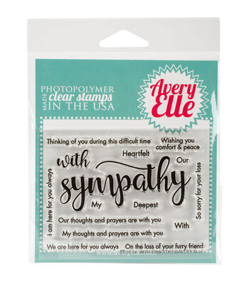 Avery Elle 15 pk Clear Stamps-With Sympathy