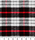 Plaid Brush Cotton Fabric 44\u0022-Red, Black & White