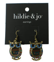 hildie & jo Owl Antique Gold Earrings-Multi Beads, , hi-res