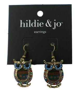 hildie & jo Owl Antique Gold Earrings-Multi Beads