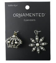 hildie & jo Ornamented Crown & Flower Pendant-Pearls & Crystals, , hi-res