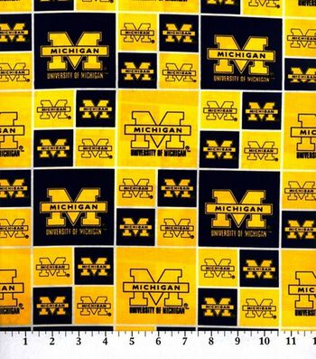 University of Michigan Wolverines Cotton Fabric -Block