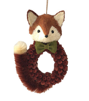 Blooming Autumn Wood Chip Fox Wreath