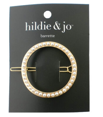hildie & jo Open Circle Gold Barrette-Outlined in Round Pearls