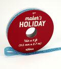 Maker\u0027s Holiday Arctic Frost Glitter Ribbon 3/8\u0027\u0027x9\u0027-Light Blue